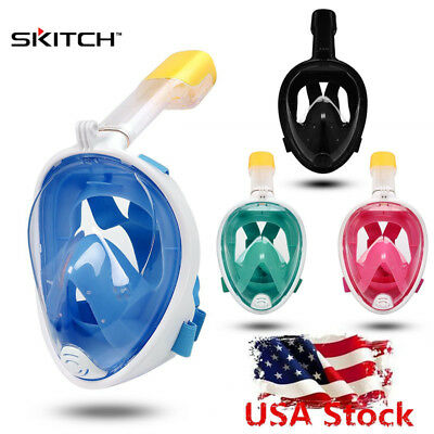 SKITCH Full Face Snorkel Dry Free Breath Dive Mask for GoPro Camera S/M/L/XL USA