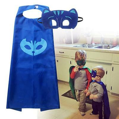 Superhero PJ Masks Kids Cape & Mask Costume Party Set Gekko Owlette Catboy W