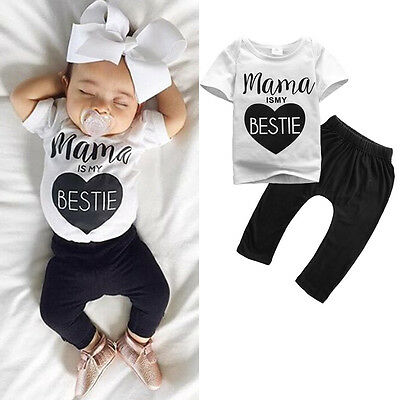 0-24M Newborn Infant Kids Baby Girls Cute T-shirt + Long Pant Outfit Clothes Set