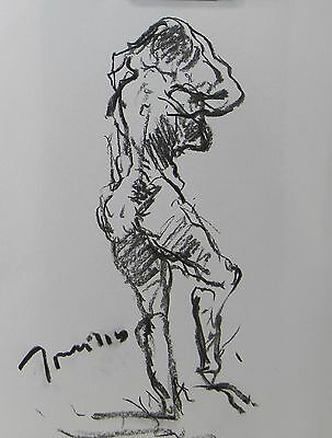 Jose Trujillo Abstract Expressionist Original Charcoal Drawing Modernist Study