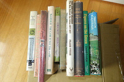 BOX 11 CRICKET BOOKS - SOME OLD 1950's EDITIONS