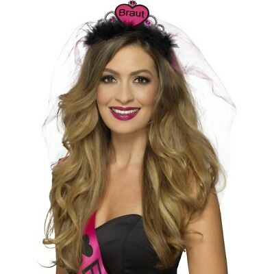 Braut Tiara Pink & Black Ladies Hen Night Accessory Crown & Veil