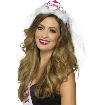 Braut Tiara Pink & White Ladies Hen Night Accessory Crown & Veil