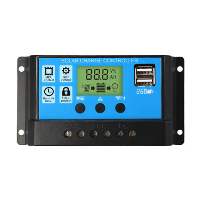 LCD Régulateur de Charge Solaire Panel USB 30A 12V/24V Battery Controller LD981