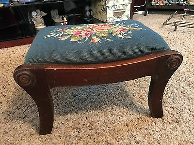 Antique Needlepoint top wood foot stool footstool