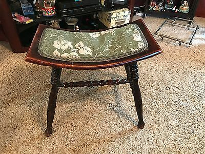 Antique Wood Vanity/Piano Bench curved seat