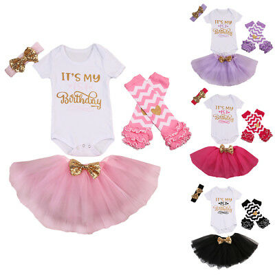 UK Stock First Birthday Lace Baby Girls Romper Bodysuit Princess Dress Outfits