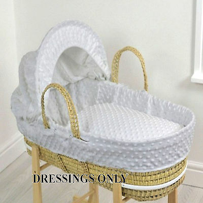 New 4Baby Grey Dimple Palm Baby Moses Basket Dressings Extra Basket Covers
