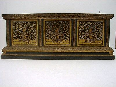 Intricate painted S.E. Asian Thai  Box , Chest or Table with Figural Panels
