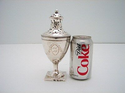 Large Neoclassical Sterling Salt Sugar Caster Shaker Danish -J. Kragh 1797 7.5IN