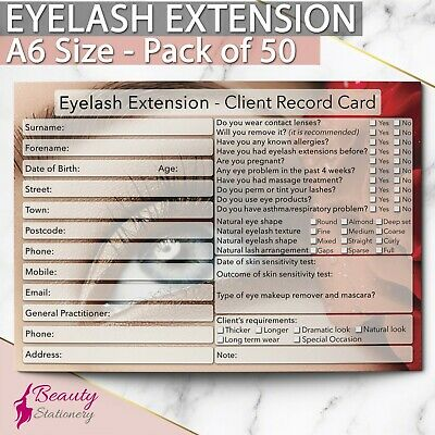 Eyelash Extension Client Record Card NEW - PREMIUM Treatment Cons. A6 Pack of 50