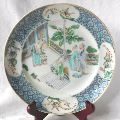 C19Th Chinese Famille Verte Plate Decorated People On Staircase In A Courtyard