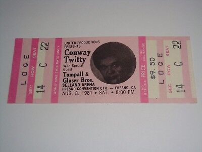 Conway Twitty Unused 1981 Concert Ticket Tompall Glaser Brothers Selland Usa
