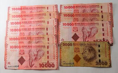 10 Notes - Bank Of Tanzania   - 92,000 Shillings - Fine To Vf