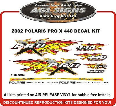 2002 POLARIS 440 PRO X Decal Kit with trailing arm decals reproduction graphics