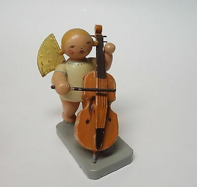 Wendt & Kuhn Vintage Angel Figurine Wood Germany Christmas Orchestra Cello