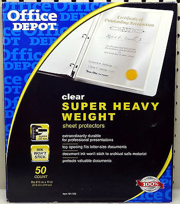 Office Depot Clear Super Heavy Weight Full Sheet Protectors