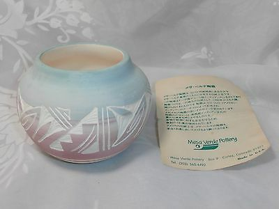 Small Navajo Pottery Vase Signed Kanuho Pastel Blue & Mauve With Carved Designs