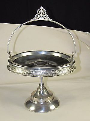 1817 Aurora MFG Victorian Silver Plate Basket,Handle,Vintage Ornate Leaf Pattern