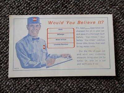 "Vintage GULF OIL Co. Dealer ""REMINDER"" POST CARD....NOS & MINT!"
