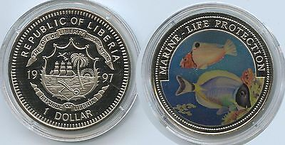 G0371 - Liberia 1 Dollar 1997 Marine Life Protection KM#570 Multicolor Farbmünze