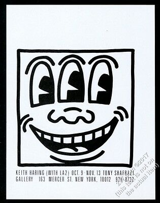 1982 Keith Haring 3 eye smiling face art NYC gallery show vintage print ad