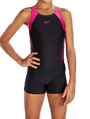 Speedo Girls Swimsuit.boom Splice Black Legsuit Leg Suit Swimming Costume 7W 344