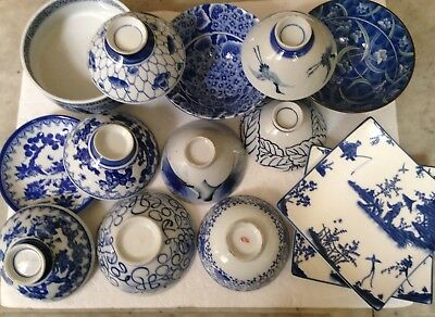 Vintage Lot of Japanese Blue & White Ceramic Soup Rice Bowls Collectibles