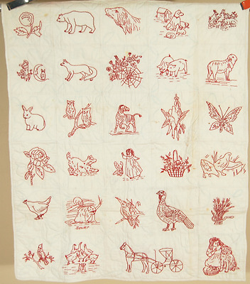 AMAZING Vintage 1890's PA Redwork Pictorial Crib Quilt ~Horse & Buggy, Animals!