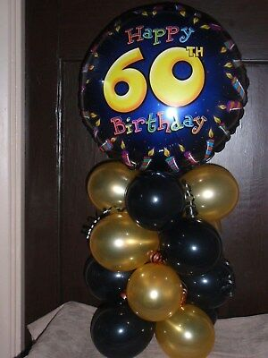FOIL BALLOON AGE 60 60th BIRTHDAY TABLE DECORATION DISPLAY AIRFILL