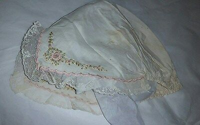 Antique Womens White Cotton Embroidered Sleep Bonnet Flowers Lace Pinks Costume