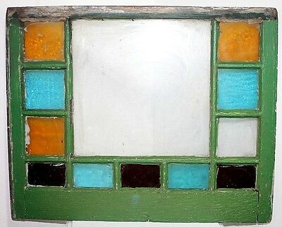 Antique 12 Panel 19Th C. Farm House Stained Glass Window In Old Green Paint.