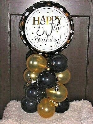 FOIL BALLOON AGE 50 50th BIRTHDAY TABLE DECORATION DISPLAY AIRFILL