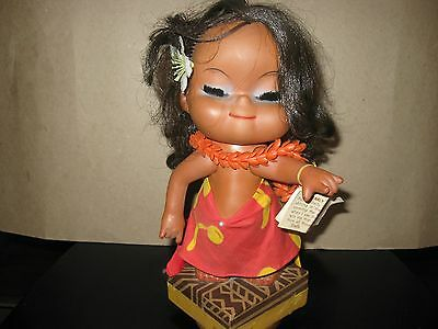 Vintage 1971 Pearly Shells Rubber Hula Doll Music box,Honolulo,Hawaii