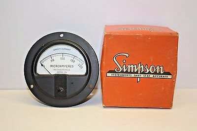 """Simpson Vintage Panel Meter DC MR35W200DCUA - 200 Microamperes 3 1/2"""" Face"""