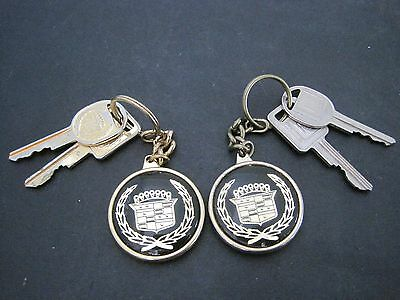 2 VTG Lew Doty Dublin California Cadillac Dealer Advertising Keychain Fob & Keys