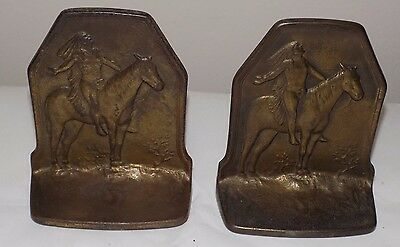 Antique American Indian Chief on Horse back Cast Iron w/Bronze Finish Bookends
