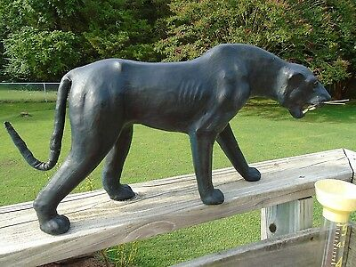 Large Black Panther Leather Wrapped Green Marble Eyes  Home/Halloween Deco