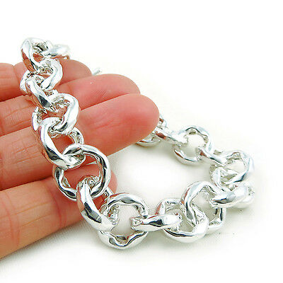 925 Sterling Silver Circle Link Chain Bracelet Gift Boxed