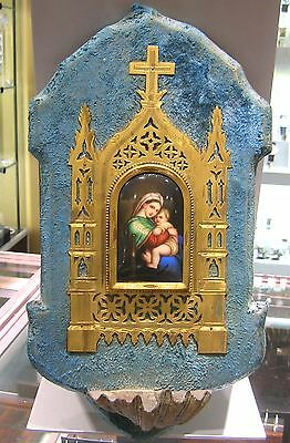 Rare French Antique 1890-1900 Porcelain Miniature Plaque Holy Water Font - Nice!