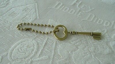 """Vintage 3"""" Long Fossil Signature Replacement Brass Key Handbag FOB with Chain"""