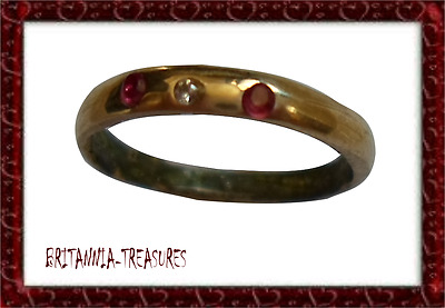 A SUPERB 13th-15th Century MEDIEVAL WEDDING RING WITH REAL DIAMOND AND RUBY-;