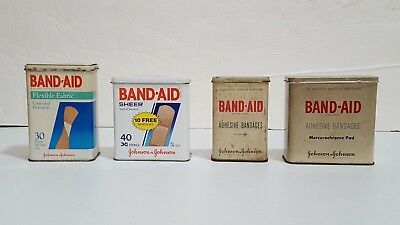 Lot Of 4 Vintage Band-aid Metal Tin Boxes