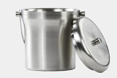 Brushed Stainless Steel Double wall Ice Bucket With Lid