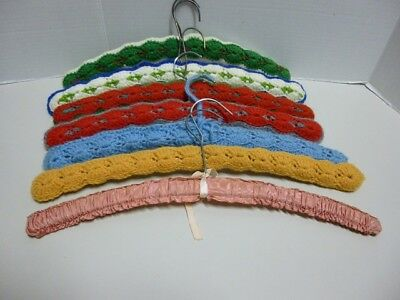 "7 Vintage ""Covered Wood Hangers"" 6 Crocheted & 1 Satin Material"
