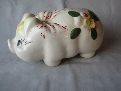 GREAT VINTAGE USA POTTERY PIG PIGGY BANK w/ BOW