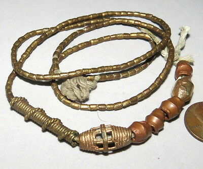 African Copper Brass Beads Tubular Shaped Coil Strand