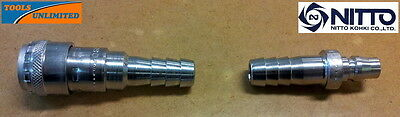 Genuine Nitto Air Fittings - Barbed Plug & One Touch Coupler Socket for 1/2 Hose
