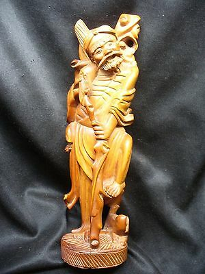 Antique Chinese Boxwood Figure with Glass Inset Eyes