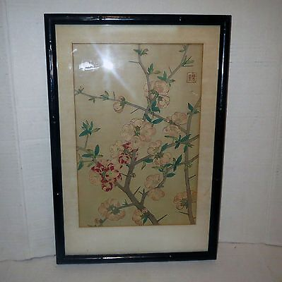 Antique Japanese Block Print  - CHERRY BLOSSOM FLOWER BRANCH Scroll - SIGNED
